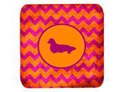 Set of 4 Dachshund Longhair Chevron Pink and Orange Foam Coasters