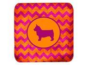 Set of 4 Swedish Vallhund Chevron Pink and Orange Foam Coasters