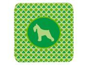 Set of 4 Schnauzer Lucky Shamrock Foam Coasters