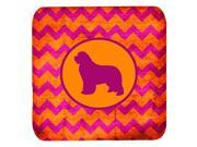 Set of 4 Newfoundland Chevron Pink and Orange Foam Coasters