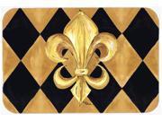Black and Gold Fleur de lis New Orleans Kitchen or Bath Mat 24x36