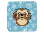 Set of 4 Snowflake Chocolate Brown Shih Tzu Foam Coasters BB1683FC