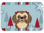 Winter Holiday Chocolate Brown Shih Tzu Kitchen or Bath Mat