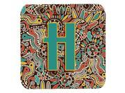 Set of 4 Letter H Retro Tribal Alphabet Initial Foam Coasters CJ2013 HFC