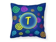 Letter T Initial Monogram Blue Swirls Decorative Canvas Fabric Pillow