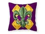 Mardi Gras Fleur de lis Purple Green and Gold Fabric Decorative Pillow 8133PW1414