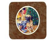 Set of 4 Fawn and Blue Great Dane waiting on Christmas Foam Coasters 7111FC