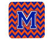 Set of 4 Letter M Chevron Orange and Blue Foam Coasters Set of 4 CJ1044 MFC