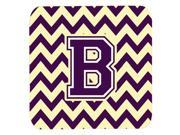 Set of 4 Letter B Chevron Purple and Gold Foam Coasters Set of 4 CJ1058 BFC