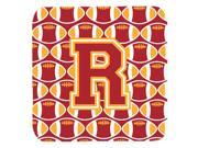 Set of 4 Letter R Football Cardinal and Gold Foam Coasters Set of 4 CJ1070 RFC