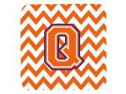 Set of 4 Letter Q Chevron Orange and Regalia Foam Coasters Set of 4 CJ1062 QFC