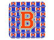 Set of 4 Letter B Football Green Blue and Orange Foam Coasters Set of 4 CJ1083 BFC