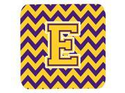 Set of 4 Letter E Chevron Purple and Gold Foam Coasters Set of 4 CJ1041 EFC