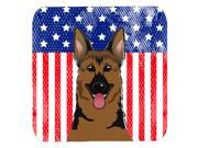 Set of 4 American Flag and German Shepherd Foam Coasters BB2141FC