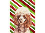 Red Miniature Poodle Candy Cane Christmas Flag Canvas House Size SC9795CHF 9SIA5XC3MY5478