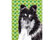 Black and White Collie Lucky Shamrock St. Patrick's Day Flag Canvas House Size SC9726CHF