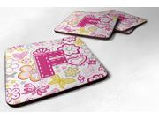 Set of 4 Letter F Flowers and Butterflies Pink Foam Coasters CJ2005 FFC