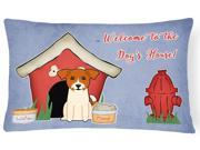 Dog House Collection Jack Russell Terrier Canvas Fabric Decorative Pillow BB2862PW1216