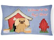 Dog House Collection Pekingnese Fawn Sable Canvas Fabric Decorative Pillow BB2858PW1216