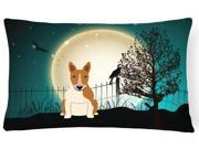 Halloween Scary Bull Terrier Red White Canvas Fabric Decorative Pillow BB2325PW1216