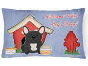 Dog House Collection French Bulldog Black Canvas Fabric Decorative Pillow BB2768PW1216