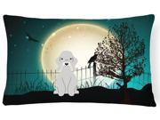 Halloween Scary Bedlington Terrier Blue Canvas Fabric Decorative Pillow BB2280PW1216