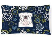 Blue Flowers White English Bulldog Canvas Fabric Decorative Pillow BB5071PW1216