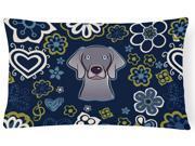 Blue Flowers Weimaraner Canvas Fabric Decorative Pillow BB5082PW1216