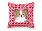 Papillon Hearts Fabric Decorative Pillow BB5318PW1414