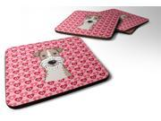 Set of 4 Wire Haired Fox Terrier Hearts Foam Coasters Set of 4 BB5317FC