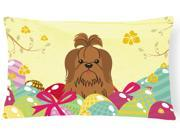 Easter Eggs Shih Tzu Silver Chocolate Canvas Fabric Decorative Pillow BB6086PW1216
