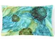 Image of Abstract in Teal Flowers Canvas Fabric Decorative Pillow 8952PW1216