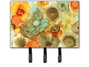 Image of Abstract Flowers Teal and orange Leash or Key Holder 8959TH68
