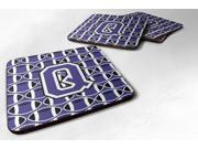 Set of 4 Letter Q Football Purple and White Foam Coasters Set of 4 CJ1068-QFC