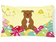 Easter Eggs Staffordshire Bull Terrier Brown Canvas Fabric Decorative Pillow BB6047PW1216