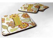 Set of 4 Letter I Floral Mustard and Green Foam Coasters CJ2003-IFC