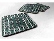 Set of 4 Letter D Football Green and White Foam Coasters Set of 4 CJ1071-DFC