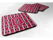 Set of 4 Letter Q Football Crimson and White Foam Coasters Set of 4 CJ1079-QFC