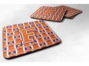 Set of 4 Letter F Football Orange, White and Regalia Foam Coasters Set of 4 CJ1072-FFC