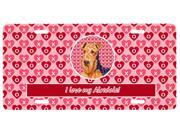Airedale Valentine's Love and Hearts License Plate