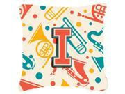Letter I Retro Teal Orange Musical Instruments Initial Canvas Fabric Decorative Pillow CJ2001-IPW1818