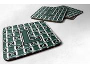 Set of 4 Letter L Football Green and White Foam Coasters Set of 4 CJ1071-LFC