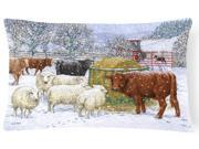 Cows and Sheep in the Snow Fabric Decorative Pillow ASA2207PW1216
