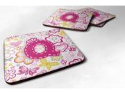 Set of 4 Letter Q Flowers and Butterflies Pink Foam Coasters CJ2005-QFC