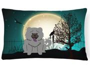Halloween Scary Chow Chow Blue Canvas Fabric Decorative Pillow BB2329PW1216