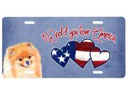 Carolines Treasures LH9509LP Woof If You Love America Pomeranian License Plate