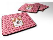 Set of 4 Red Corgi Hearts Foam Coasters Set of 4 BB5324FC