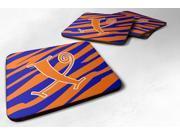 Set of 4 Monogram - Tiger Stripe Blue and Orange Foam Coasters Initial Letter X