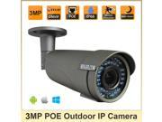 HOSAFE K3MB1GP 3MP ONVIF Outdoor POE IP Camera w/ 42-IR LED Waterproof Motion Detection and Email Alert
