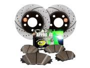 2001 Mitsubishi Galant 6 Cylinder  Approved Performance C1704 - [Rear Kit] Premium Performance Drilled/Slotted Brake Rotors and Carbon Fiber Pads